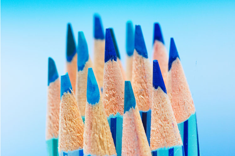 blue pencils perfectly sharpened